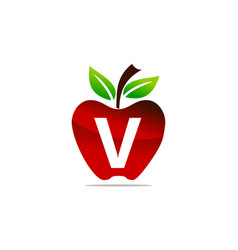 Apple letter v logo design template vector
