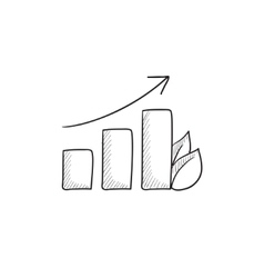 Bar graph with leaf sketch icon vector