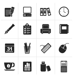 Black Business and office equipment icons vector