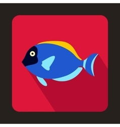 Blue surgeon fish icon flat style vector