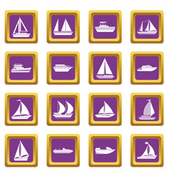Boat and ship icons set purple vector