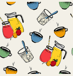 Breakfast seamless pattern cold hot drinks with vector