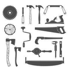 Carpentry woodworkers sawmill lumberjack tools vector