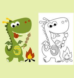 Cartoon little dragon roasting meat vector