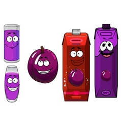 Cartoon plum juice packs with glasses and fruit vector