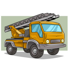 cartoon yellow cargo truck with metal ladder vector image