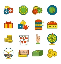 Casino icons set with roulette gambler joker slot vector image vector image