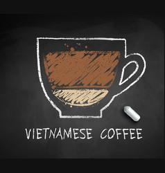 Chalked sketch vietnamese coffee vector