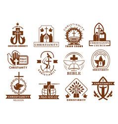 christianity religion icons catholicism orthodox vector image