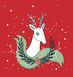 christmas deer new year holiday greeting card vector image
