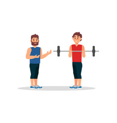 coach holds training session with young man guy vector image