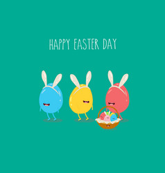 color easter eggs in rabbit ears bring easter vector image