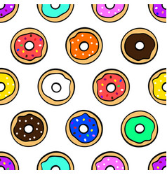 colorful cute donuts on white background seamless vector image