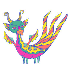 Colorful fantasy cartoon dragon with wings horns vector