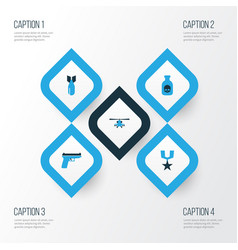 combat colorful icons set collection of vector image