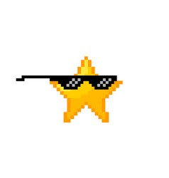Cool pixel star like boss concept vector