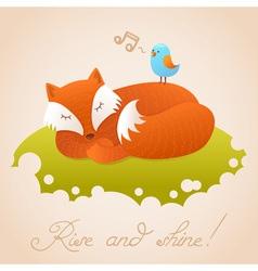 Cute bacard with sleeping red fox vector