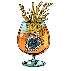 drunkard jumps into a glass of alcohol vector image