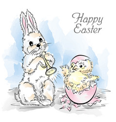 easter card with rabbit and newborn chicken vector image