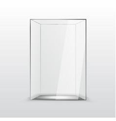 empty glass showcase for presentation on white vector image