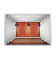 Example empty room with brick wall vector