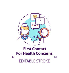 First contact for health concerns concept icon vector