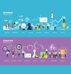 Flat design style web banners of business process vector