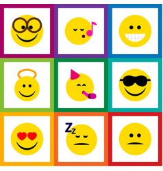 flat icon face set of angel grin pleasant and vector image