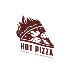 Flat pizza slice icon pictogram isolated vector