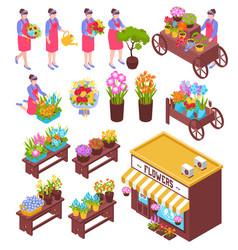 Florist isometric elements set vector