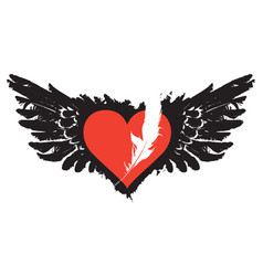 Flying heart with wings and feather banner vector