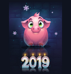 funny card with a cartoon pig vector image