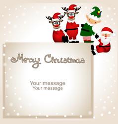funny postcard with christmas elf christmas vector image