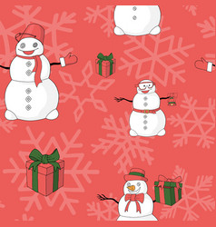 funny snowmans giftboxes and snowflakes vector image