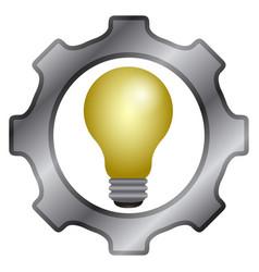 Gear piece with lightbulb icon vector