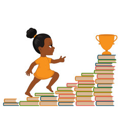 girl going up the stairs of books vector image