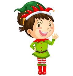 Girl in elf costume vector