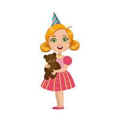 girl with teddy bear part of kids at the birthday vector image