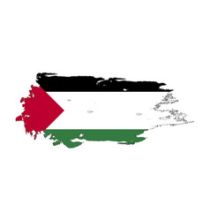 Grunge brush stroke with palestine national flag vector