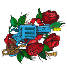 Gun and roses tattoo hand drawing style vector
