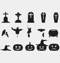 Halloween set of symbols witch hat pumpkin vector