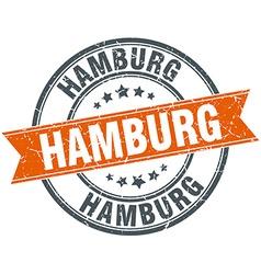 Hamburg red round grunge vintage ribbon stamp vector