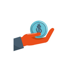 Hand holding coin money business financial color vector