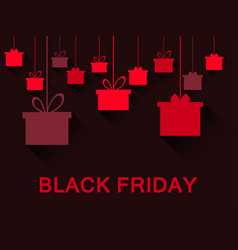 Hanging gift boxes in red black friday festive vector