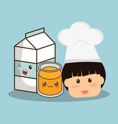 Head boy with milk and juice vector