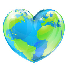 heart world globe concept vector image