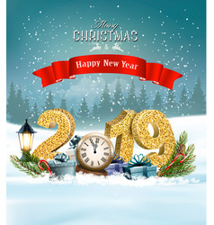holiday christmas background with 2019 vector image