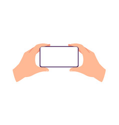 Horizontally placed in hands mobile phone flat vector