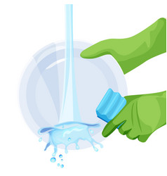 human in rubber protective gloves dishwashing vector image