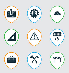 Industry icons set with axe heating straightedge vector